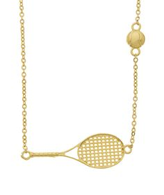 Tennis Racket Charm with Ball on Chain- Samantha Faye Jewelry at Showroom Bliss