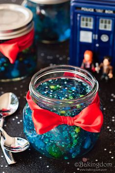 Doctor Who Galaxy Jello in a Jar by Bakingdom Bakingdom Brings Us New Doctor Who Jello in a Jar Recipe. Looks hard, but is super easy!