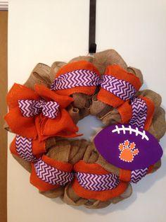 Clemson Burlap Wreath