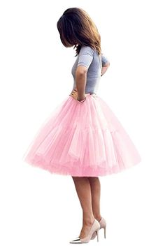 4152ba7aace 💕Women Short 5 Layers Midi Tulle Tutu Homecoming Fomral Skirt(Pink