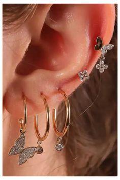 Ear Jewelry, Trendy Jewelry, Cute Jewelry, Women Jewelry, Jewlery, Jewellery Earrings, Trendy Accessories, Gold Jewelry, Vintage Jewellery