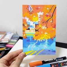 From the bright crimson of toriis and temples, to the rainbow of neon lights in Shinjuku and all the way to the distant blue of Mount Fuji—Japan is full of… Gouache Illustrations, Pen Illustration, Animal Illustrations, Fantasy Illustration, Illustrations Posters, Pen Art, Marker Art, Pretty Art, Cute Art