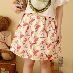 Bird Print Pleated Skirt from #YesStyle <3 Moriville YesStyle.com.au