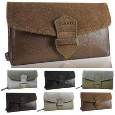 b3241d217d5 Leather Suede Wallet Clutch Black Brown New Vintage Authentic Beige Fereti  Purse