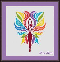 Cross Stitch Pattern Woman Butterfly Woman Rainbow от HallStitch
