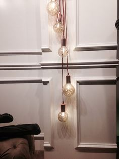 Vintage style bulbs with string create a simple yet elegant look. #homedecor