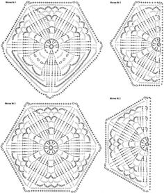 Hexagon Crochet Pattern, Crochet Blocks, Crochet Diagram, Crochet Squares, Crochet Granny, Irish Crochet, Crochet Doilies, Crochet Stitches, Knit Crochet