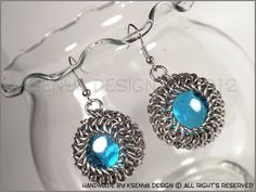 Aurora - unique chainmaille earrings. #jewelry #ksenyajewelry #earrings #chainmaille #wirejewelry #blue