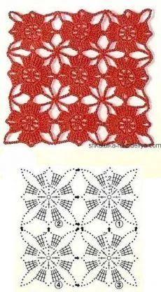 Crochet Square Patterns, Crochet Motifs, Crochet Diagram, Crochet Chart, Crochet Squares, Crochet Doilies, Crochet Flowers, Crochet Stitches, Knitting Patterns