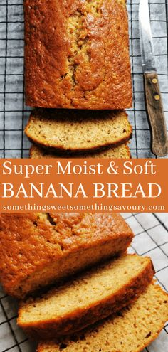 Everyone needs an Easy Banana Bread recipe for using up overripe bananas and this quick bread is beautifully soft and moist. Leave it plain and simple or dress it up with chopped nuts or chocolate chips. Banana Bread Recipe Uk, No Butter Banana Bread, 3 Ingredient Banana Bread Recipe, Quick Banana Bread, Chocolate Chip Banana Bread, Chocolate Chip Recipes, Quick Bread, Chocolate Chips, Banana Recipes Uk