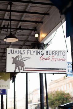 "Juan's Flying Burrito - A local favorite, Juan's is a fantastic place to spend a long evening with friends. Labeled as a ""creole taqueria"", you can expect delicious fish tacos as well as yummy shrimp quesadillas."
