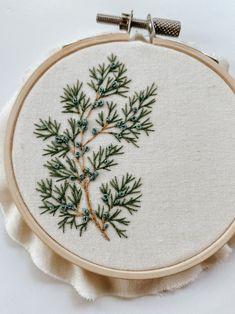 Embroidery Pattern:  Juniper, PDF pattern, beginner embroidery, diy embroidery art, botanical embroidery.