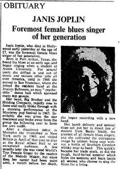 Times Music: On this day in Janis Joplin . Janis Joplin, Newspaper Headlines, Rock Legends, Jim Morrison, Music Icon, Female Singers, Jimi Hendrix, Classic Rock, Music Stuff