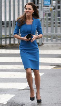 Kate Middleton Blue Knee-Length Dress | POPSUGAR Fashion