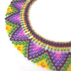 Huichol necklace Colorful seed bead collar Mexican choker Huichol jewelry Geometric beadwork tribal necklace Folk necklace gift for women Tribal Necklace, Collar Necklace, Crochet Necklace, Beaded Necklace, Necklaces, Folk, Beaded Collar, Geometric Jewelry, Beading Patterns