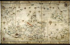 Untitled - caption: '[Whole map] Desceliers map of the world; with illuminated borders, drawings, and the arms of France, Montmorency and Annebaud.' | Flickr - Photo Sharing!