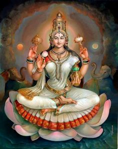"☀ SHRI LAKSHMI DEVI ॐ ☀ ""I offer my obeisances unto the lotus-born mother of all beings, unto Sri the Goddess of fortune, having full-blown lotus-like eyes, and reposing in the bosom of Vishnu. Shiva Art, Shiva Shakti, Krishna Art, Hindu Art, Saraswati Goddess, Goddess Art, Goddess Lakshmi, Lord Saraswati, Durga Images"