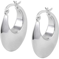 Jewel Exclusive Sterling Silver 25mm Puffed Hoop Earrings ($30) ❤ liked on Polyvore