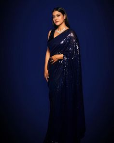 Kajol Saree, Bollywood Saree, Bollywood Actress, Sabyasachi, Bollywood Fashion, Bollywood Celebrities, Bridal Looks, Bridal Style, Royal Blue Saree
