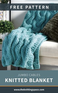 Snuggle cozily with this Jumbo Cables Knitted Blanket wrapped around you and your beloved on a chilly winter night. This easy pattern makes for an excellent knitting project for those who want to work on cables. Knit one for you at home, and another one as a gift for a dear friend. | Discover over 4,500 free knitting patterns at theknittingspace.com #knitpatternsfree #easyknittingprojects #beginnerknits #howtoknitblankets