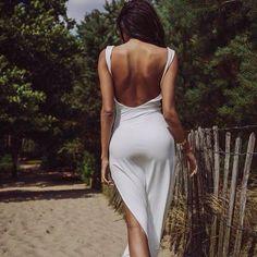 White Open back dress