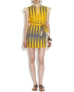 Yellow Raffia Trim Cotton Coco Weekender Dress