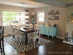 Retro Ranch Reno: Great Room Rugs.