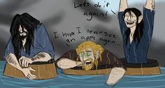 In the book after the company escapes mirkwood, Thorin ends up looking like a scraggly dog and Fili gets sick of apples.  Then there's Kili.