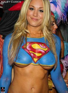 Kaley Cuoco body painted as Supergirl - Ah Yes, we could only wish. Great job of Photoshopping ... but still nice to imagine!