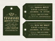 Business cards for Tennessee Homemade Wines that will also serve as neck tags for their in-store wines. Currently on press at the renown Studio on Fire. Duplexed stock with engraving ink and then f...