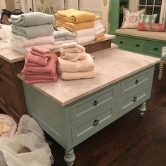 Cute baking stations can also double as towel folding central. Baking Station, Cute Baking, Window Seats, Kitchen Inspiration, Painted Furniture, Paint Colors, Towel, Tables, Kitchen Cabinets