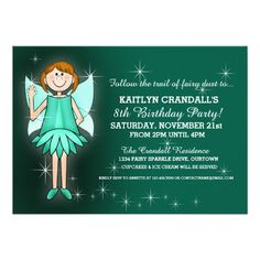Sparkle Fairy Birthday Party Personalized Announcements