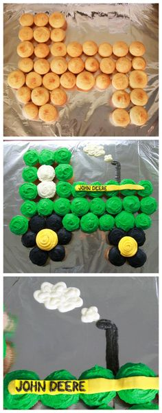 This tractor cupcake cake is so simple and the perfect addition to any tractor themed party! If your little one loves tractors, check out these cute ideas for the birthday party of his/her dreams! Tractor Cupcake Cake, Tractor Birthday Cakes, Cupcake Cakes, Cupcake Birthday Cakes, Themed Birthday Cakes, 3rd Birthday Party For Boy, Birthday Banners, Third Birthday, Birthday Party Themes
