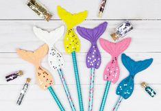 Glue Crafts, Diy Arts And Crafts, Felt Crafts, Fabric Crafts, Paper Crafts, Pencil Topper Crafts, Pencil Toppers, Diy Mermaid Tail, Mermaid Mermaid
