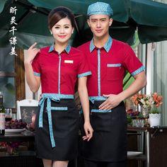 Work Clothes Long Sleeved Hotel Uniforms Summer Waitress Restaurant Fast Food Work Shirt Overall Chinese Hotel Uniform, Office Uniform, Uniform Ideas, Restaurant Uniforms, Asian Restaurants, Small Cafe, Work Shirts, Work Clothes, Workwear