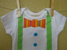 Spring or Easter Bow Tie & Vest Onesie or Shirt in by TokenBlonde, $16.00