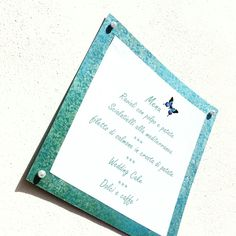 Menù quadrato con farfalla colore Tiffany Impronte sulle Nuvole