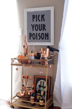 halloween decorations Halloween Bar Cart with Whiskey Hot Chocolate, , the whiskey is noticeable strong, but as you continue to enjoy it, the chocolate flavours slowly start to Halloween Dekoration Party, Halloween Mantel, Halloween Home Decor, Halloween Birthday, Halloween Party Decor, Holidays Halloween, Easy Halloween, Halloween Treats, Halloween Decorations Apartment