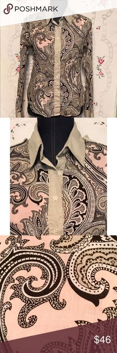 """Michael Kors Classic Button Down Top Pink Paisley This is a classic shirt by Michael Kors. 100% cotton in pink, black and tan swirling paisley print.  Epaulets on both shoulders. Machine washable and tumble dry. Size 8. Length is 37"""", sleeve length is 23.5"""" and bust measures 37"""". Very good preloved condition. Michael Kors Tops Button Down Shirts"""