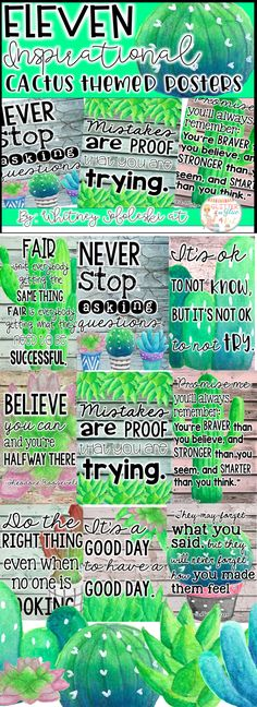 Looking for something beautiful and inspirational to brighten up your classroom? These posters have a shiplap background with cactus and  succulent accents! They will be the perfect addition to your cactus, succulent, or western themed classroom! Keywords: classroom inspiration, classroom décor, shiplap, western, cactus, succulent, inspirational quotes, growth mindset