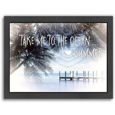 "East Urban Home Text Art I Love Summer Framed Graphic Art Size: 10.5"" H x 12.5"" W x 1.5"" D"
