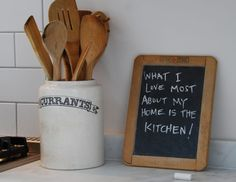 I bought a wee chalkboard at the local thrift store for a quarter.  I use it in my kitchen to remind myself what's for dinner that night or write a favorite quote/lyric if I need some cheering up.  : )
