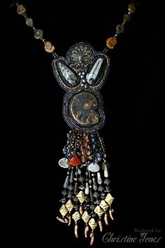 Beadwork necklace with fossils