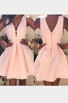 Women Fashion Casual Dress V-neck Sleeveless Pink Evening Party Dresses - The most beautiful dresses and seasonal outfits Cocktail Bridesmaid Dresses, Long Cocktail Dress, Hoco Dresses, Cute Dresses, Evening Dresses, Formal Dresses, Party Dresses, Short Tight Prom Dresses, Cute Homecoming Dresses