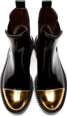 Marni Black Leather Gold Toe Chelsea Boots: