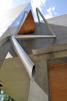 Think about downpipes as a sculptural element. Playful