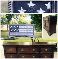 This painted dresser would be adorable in a boys' bedroom.  Very patriotic!
