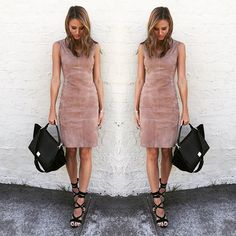 Brit Davis wears our North Suede Dress