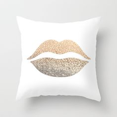 GATSBY GOLD LIPS Throw Pillow by Monika Strigel - $20.00