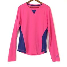 GILLY HICKS SPORT hot pink stretch THUMBHOLES New, unworn condition; tags attached. Color is brighter than photo suggest and is what I would describe as hot pink or neon. Thumbholes! Mesh detailing outside. Logo at sleeve cuff. Gilly Hicks Tops Tees - Long Sleeve